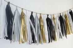 black white gold silver grey wedding tissue tassel garland graduation birthday party baby shower photo prop custom personalized home decor