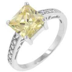 Canary Yellow Diamond Alternatives Princess Ring White14k Gold over 925 SS #SolitairewithAccents