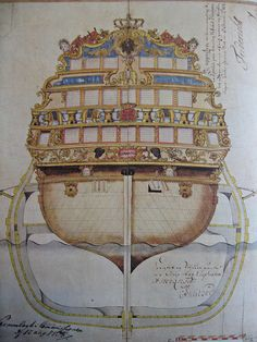 "The richly ornamented stern and midship section of the three-decker ""Elephant"", launched in Accra, Copenhagen, Vintage World Maps, Product Launch, Ornaments, Drawing, Elephants, Desktop, Design"