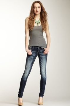 Faded Distressed Skinny Leg Jean