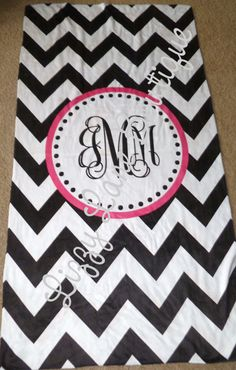A chevron beach towel! Must have and i mist have one. Just like this, except maybe pink chevron with black font!