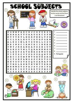 Resultado de imagen para school subjects worksheets