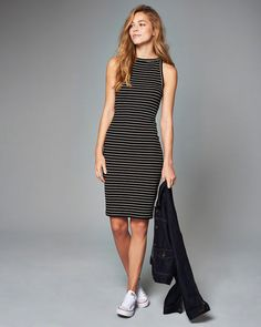 Womens Striped Bodycon Midi Dress