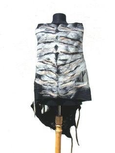 Large, Sheer, Nuno Felted Wrap, Black Nuno Felted Shawl, Tiger Scarf, Summer Felted Scarf, Nuno Felt Clothing Art, Unique Handmade scarves by PalMiFeltedScarves on Etsy