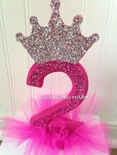 1ST Birthday Girl, 2nd Birthday Girl Princess Crown Cake Topper, Any Colors #Handmade