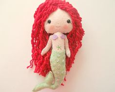 Felt Mermaid Doll Gingermelon Doll by PlatoSquirrel on Etsy