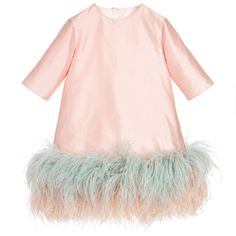 Aristocrat Kids Girls Pink Silk & Feather 'Mashmallow Twist' Dress at Childrensalon.com