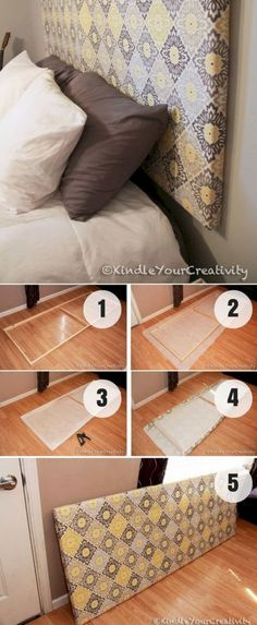 Everyone can make an easy DIY headboard project because it is not difficult as it seems. You may think twice to buy a headboard for your bed because the price surely is not cheap. One of the perfect s Diy Home Decor On A Budget, Decorating Your Home, Make Your Own Headboard, Diy Bathroom, Headboard Designs, Headboard Ideas, Headboard Frame, Diy Home Improvement, Headboards For Beds