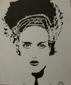Bride of Frankenstein ink drawing original by BeranekBoutique