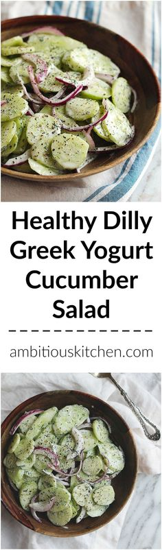 Dad's fresh Dilly cucumber salad made with greek yogurt instead of mayo. A refreshing, sweet and tangy summer salad! http://www.ambitiouskitchen.com/2016/07/dads-dilly-greek-yogurt-cucumber-salad/