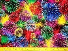 2 YARDS Fireworks Fabric SHIPS FREE FREE PATTERN
