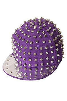 Baseball Cap Punk Style Spike Rivets (One Size, Purple-Silver)