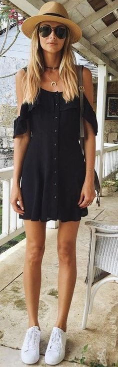 #spring #outfits Beach Hat & Black Cold Shoulder Dress & White Sneakers