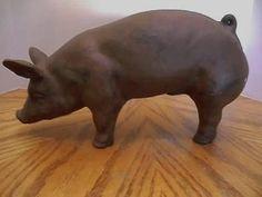 Dark Brown Cast Iron Pig Doorstop Decoration Super Cute | eBay