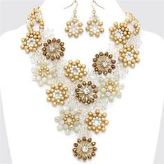 Chunky Bead Flower Charm Gold Chain Earring Necklace Set Fashion Costume Jewelry