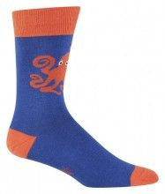 Bright royal blue socks, by Sock It To Me, with a bright orange octopus on the front.