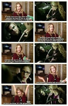 Arrow - The Odyssey - Emily Bett Rickards on fitting Stephen Amell into the back of a Mini. - omg, this is hilarious! <<<more like half of Stephen Amell into a Mini :D XD Arrow Cw, Arrow Oliver, Team Arrow, Emily Rickards, Movies And Series, Cw Series, Breaking Bad, Arrow Flash, Oliver And Felicity
