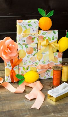 Our pretty printable wrapping paper in soft watercolors is perfect for any gift giving situation. By handcrafted lifestyle expert Lia Griffith. Creative Gift Wrapping, Creative Gifts, Wrapping Ideas, Printable Wrapping Paper, Holiday Gifts, Christmas Gifts, Lemon Watercolor, Diy Gifts, Handmade Gifts