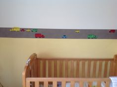 Make your own boarder.... A strip of wallpaper cut length ways and some hand drawn cars on coloured paper.