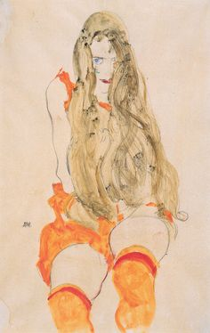 Egon Schiele, Seated Woman in Stockings, 1912