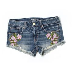 Pre-owned American Eagle Outfitters  Denim Shorts Size 6: Blue Women's... (101825 PYG) ❤ liked on Polyvore featuring shorts, blue, denim shorts, blue shorts, jean shorts, american eagle outfitters and blue denim shorts