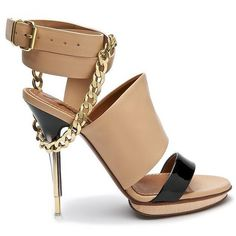 Belted Sandal with Chain ($478) ❤ liked on Polyvore featuring shoes, sandals, heels, обувь, scarpe, women, leather platform sandals, high heels sandals, stiletto sandals and high heel platform sandals