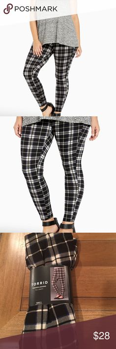 "Torrid plaid leggings ""You've been a plaid girl, and we've got the leggings to prove it. The perfect tartan print, the navy, white and black plaid plays up the punkish vibes, while the stretchy waistband and tapered leg are redefining comfy. 30"" inseam. Cotton/spandex."" New with tags, size 3X. torrid Pants Leggings"