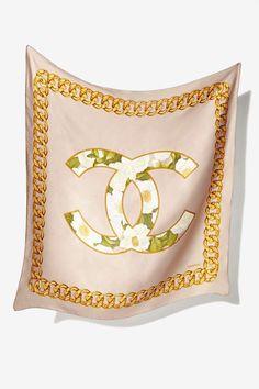 Vintage Chanel Rue de Cambon Logo Silk Scarf