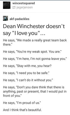 Dean's I love you