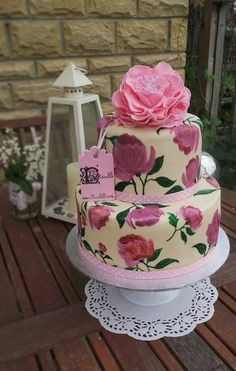 Fancy Peony hand painted cake