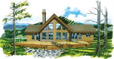 Vacation House Plan chp-20927 at COOLhouseplans.com I like the exterior of this one but again would make changes to the interior. Move both secondary bedrooms downstairs, make one upstairs into master bath and move utilities and 2nd bath to the other bedroom space.