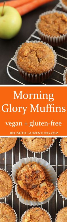 Healthy Vegan Gluten Free Morning Glory Muffins loaded with carrots, coconut, raisins, and apples. Perfect to have for breakfast or a snack. via delighfuladv Gluten Free Breakfasts, Vegan Breakfast Recipes, Gluten Free Desserts, Dairy Free Recipes, Vegan Desserts, Vegan Recipes, Dessert Recipes, Breakfast Healthy, Gluten Free Baking