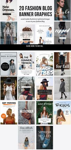 20 Fashion Blog Banner Graphics  by JannaLynnCreative on >> Social media, #Instagram and #pinterest optimized images to use on your #fashion blog.