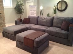 """This Seawater Rhino Padded Velvet sactional set up was on display in Wisconsin for the """"Parade of Homes"""" #Lovesac"""