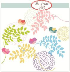Digital clip art  leaves and birds instant download by audreeart, $4.50