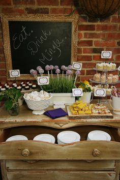 Rustic Garden Cocktail Party. love the drawer filled with plates.