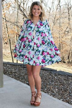 Floral Bell Sleeve Dress >> www.anchorabella.com New Arrivals Daily! Fast, Free Shipping!