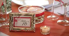 Save money on your wedding reception by making these elegant place cards or table numbers using $1 products from Dollar Tree.