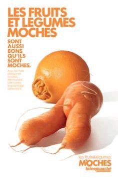 Intermarché défend les fruits et légumes moches, pas calibrés, déformés… La marque milité contre le gaspillage en les mettant à l'honneur dans un rayon dédié.