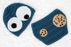 Crochet Cookie Monster Baby Hat and Diaper Cover Set // Photography Prop // Newborn by lauraanncrochet, $30.00