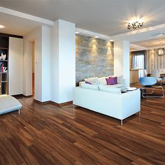 Amazon Acacia smooth laminate floor. Red-Brown color, acacia wood finish, 8mm 1-strip plank laminate flooring, easy to install, PERGO lifetime warranty.