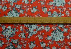 Coral Floral Fine Viscose Lawn Dress Fabric