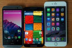 HTC M8 à esquerda, Motorola Moto X ao centro e iPhone 6 Plus à direita.