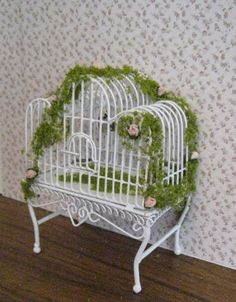"Large White Metal Bird Cage, 1"":1' Twelfth Scale Dollhouse Miniature"