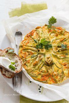 Frittata con fiori di zucca al forno - Ricetta Frittata con fiori di zucca al forno.