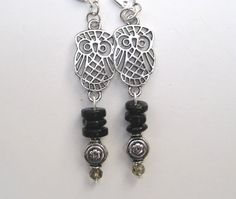 Remember to accessorize this year. Lovely Silver Tone Owl Earrings - Black Glass Beads - Wise - Elegant - Victory by FerryCreekVintage.etsy.com $24.75