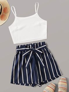 Solid Cami Top With Striped Belted Paperbag Shorts Source by outfits verano Cute Teen Outfits, Teenage Girl Outfits, Cute Comfy Outfits, Girls Fashion Clothes, Summer Fashion Outfits, Cute Summer Outfits, Cute Fashion, Look Fashion, Pretty Outfits