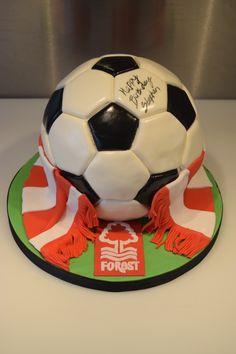 Football Cakes For Boys, Nottingham Forest, Forest Cake, Soccer Ball, Cake Decorating, 30th, Birthday Cake, Food, European Football
