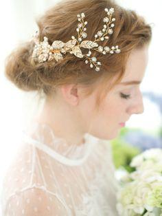 Gold Bridal Comb, wedding comb, Vintage comb, flower comb, Gold Wedding hair accessories, Bridal Headpieces, bridal comb