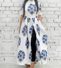 White & Blue Cotton Printed Cape